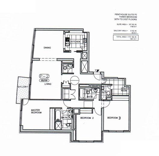 بنتهاوس - P2  ، ثلاث غرف نوم ، من الطابق 30 إلى الطابق 31 ، حجم 1861 قدم مربع