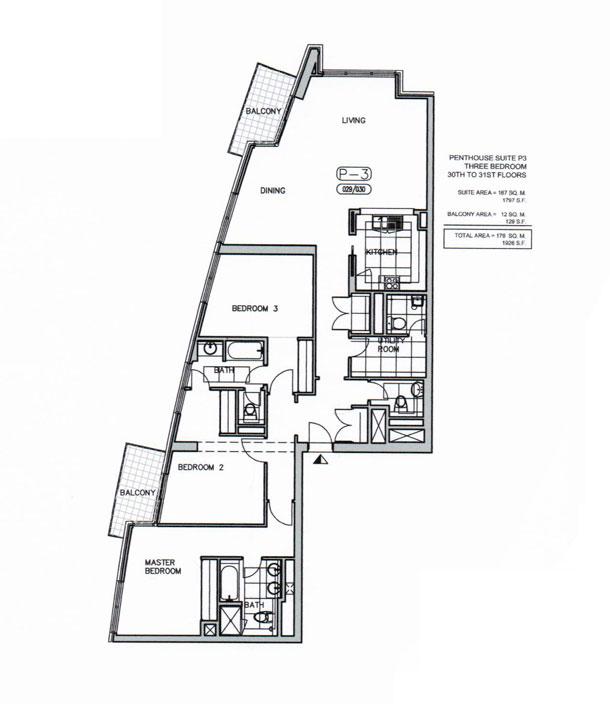 بنتهاوس - P3  ثلاث غرف نوم ، من 30 إلى 31 ، حجم  1926 قدم مربع