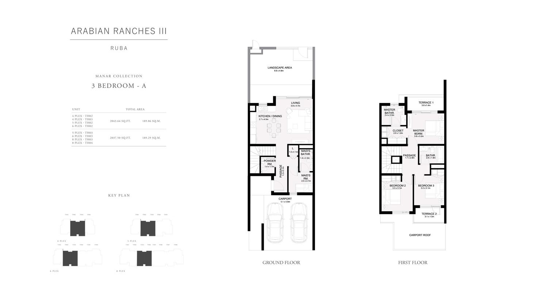3 غرف نوم - A ، تاون هاوس ،مجموعة منار ، حجم 2043 قدم مربع