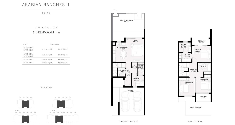 3 غرف نوم - A ، تاون هاوس ، مجموعة سراج ، حجم 2038 قدم مربع