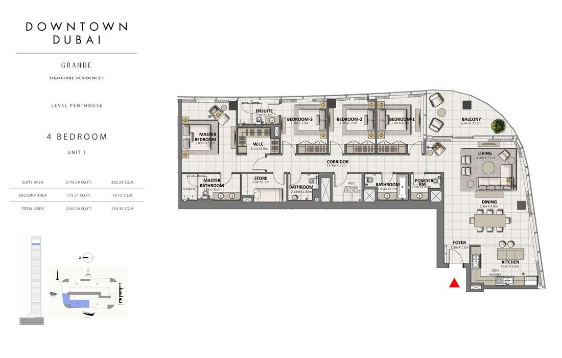 بنتهاوس من 4 غرف نوم ، الوحدة 1،  حجم 2350.30 قدم مربع