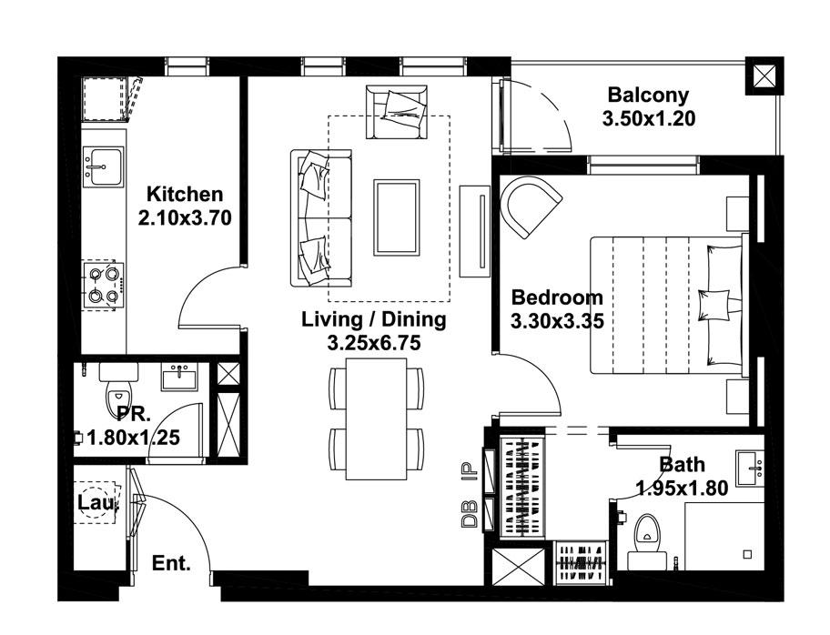 غرفة واحدة ، النوع - D  ، المستوى 2-9 ، حجم 680 قدم مربع