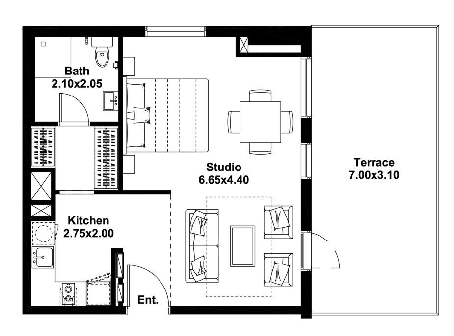 استوديو ، نوع H ، المستوى 1 ، حجم -732 قدم مربع