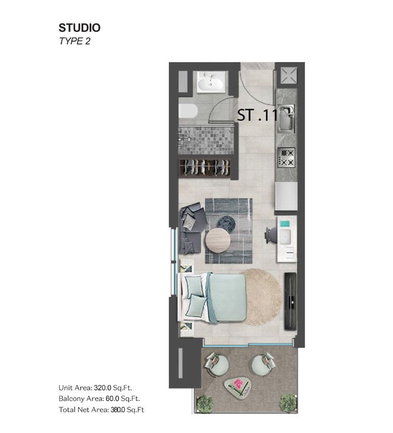 استوديو،  النوع 2 ، حجم 380.00 قدم مربع