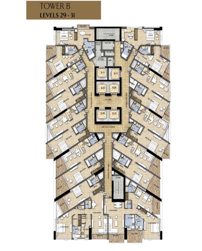 البرج B ، المستوى - 29-31