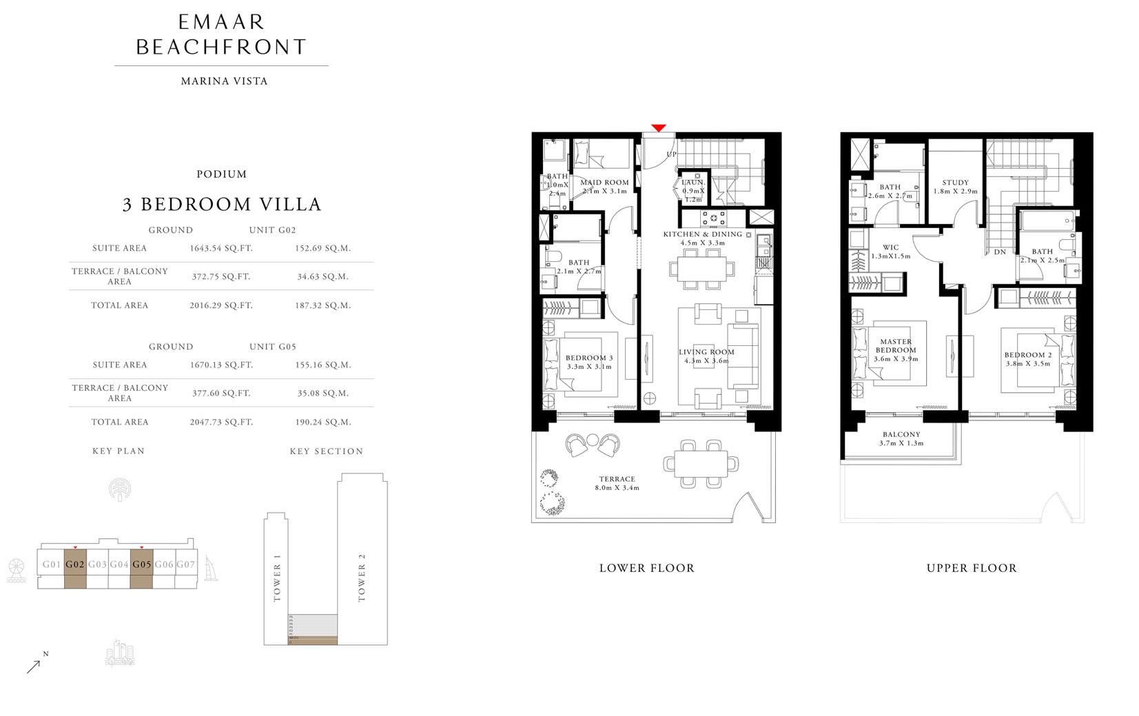 فيلا 3 غرف نوم ، بوديوم ، وحدة G02 و G05 ، الحجم 2016 & 2047 قدم مربع