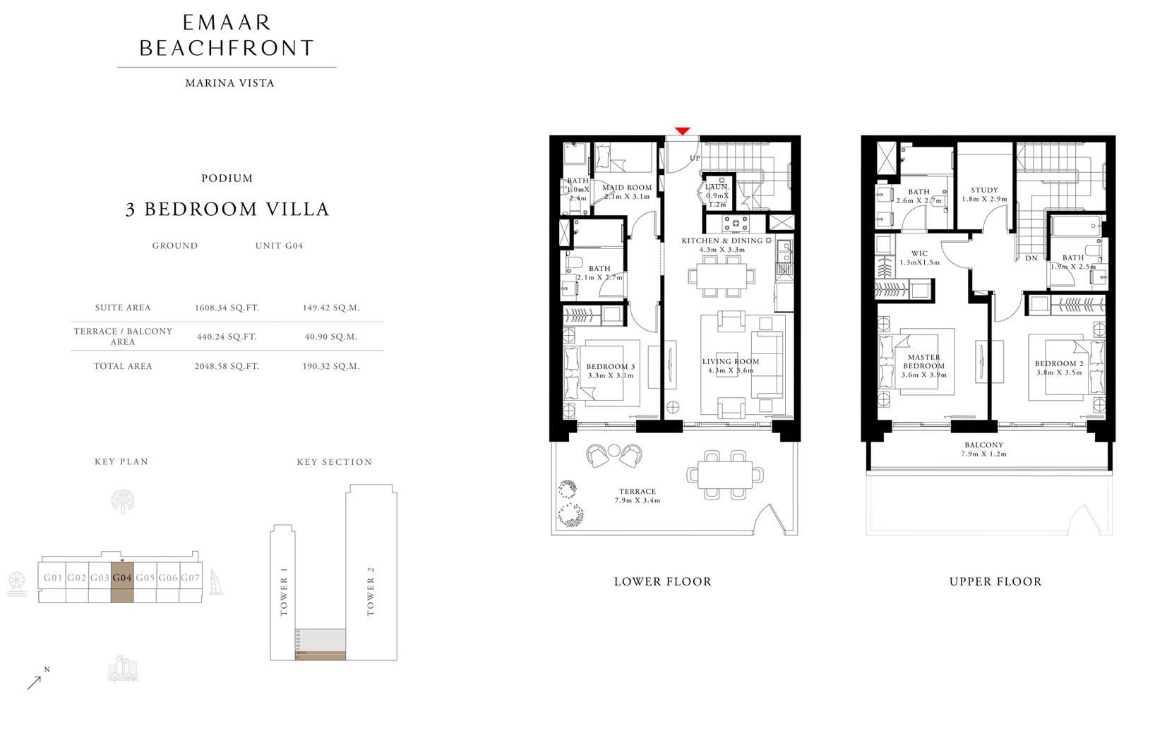 فيلا 3 غرف نوم ، بوديوم ، وحدة G 04 ، حجم 2048 قدم مربع