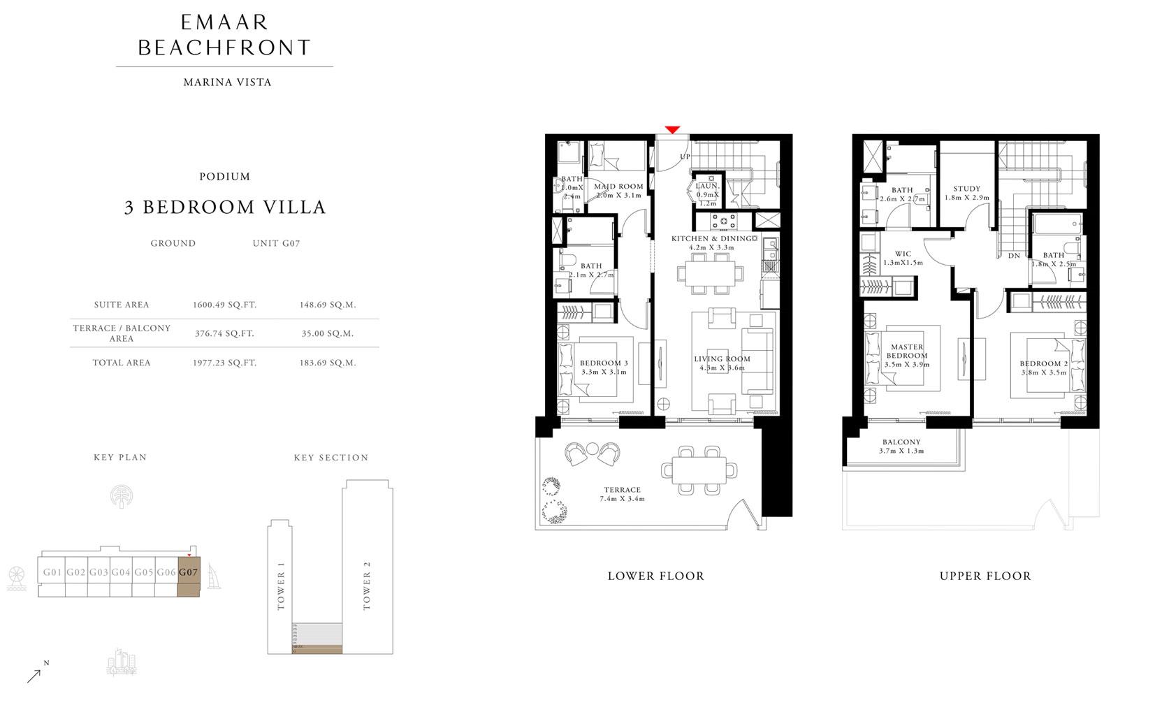 فيلا 3 غرف نوم ، بوديوم  ، وحدة G 07 ، حجم 1977 قدم مربع