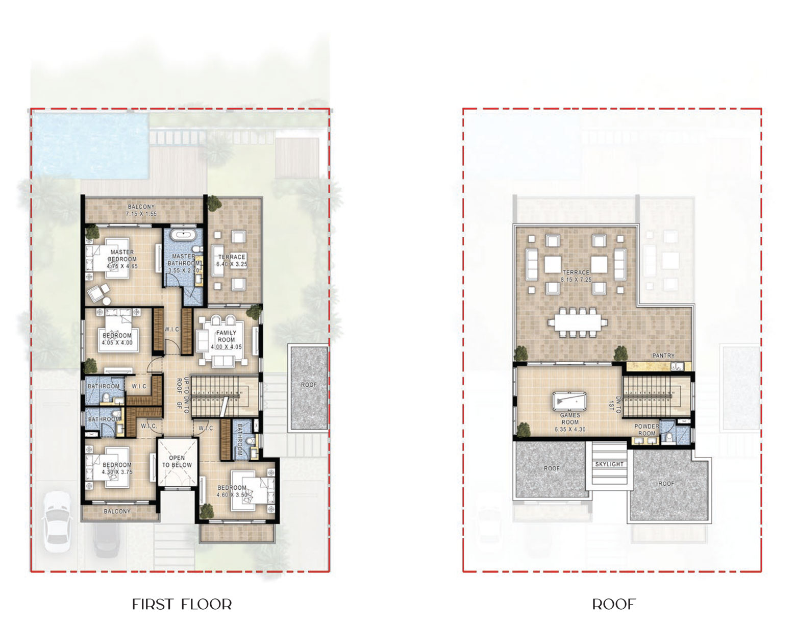فلل، 3 غرف نوم، الطابق الأول والتراس ، بمساحة 6112 قدم مربع