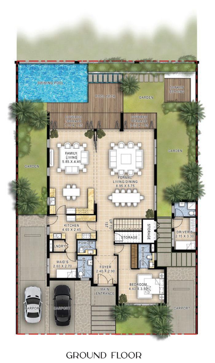فلل، 3 غرف نوم، الطابق الأرضي، 6112 قدم مربع