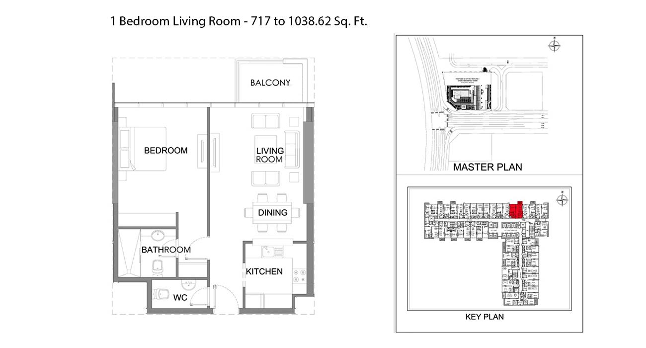 غرفة نوم - الحجم  - 717.09 - 1038.62 قدم مربع