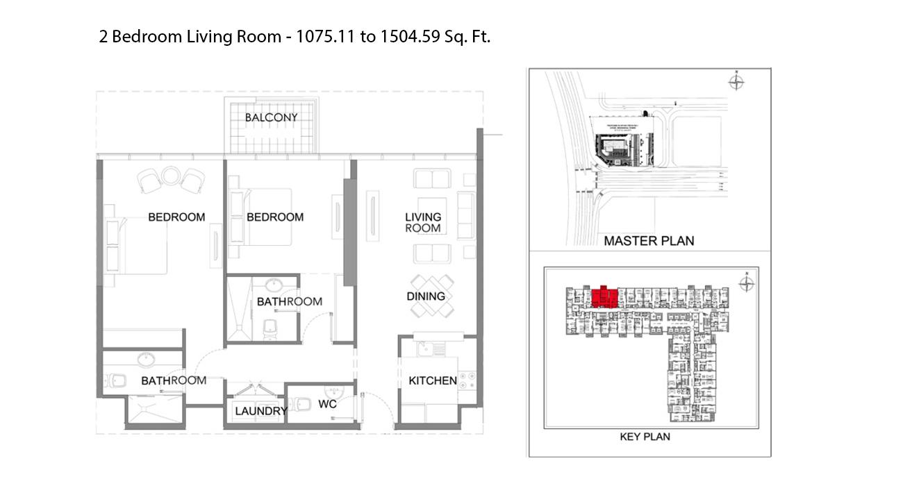غرفتي نوم - الحجم - 1075.11 - 1504.59 قدم مربع