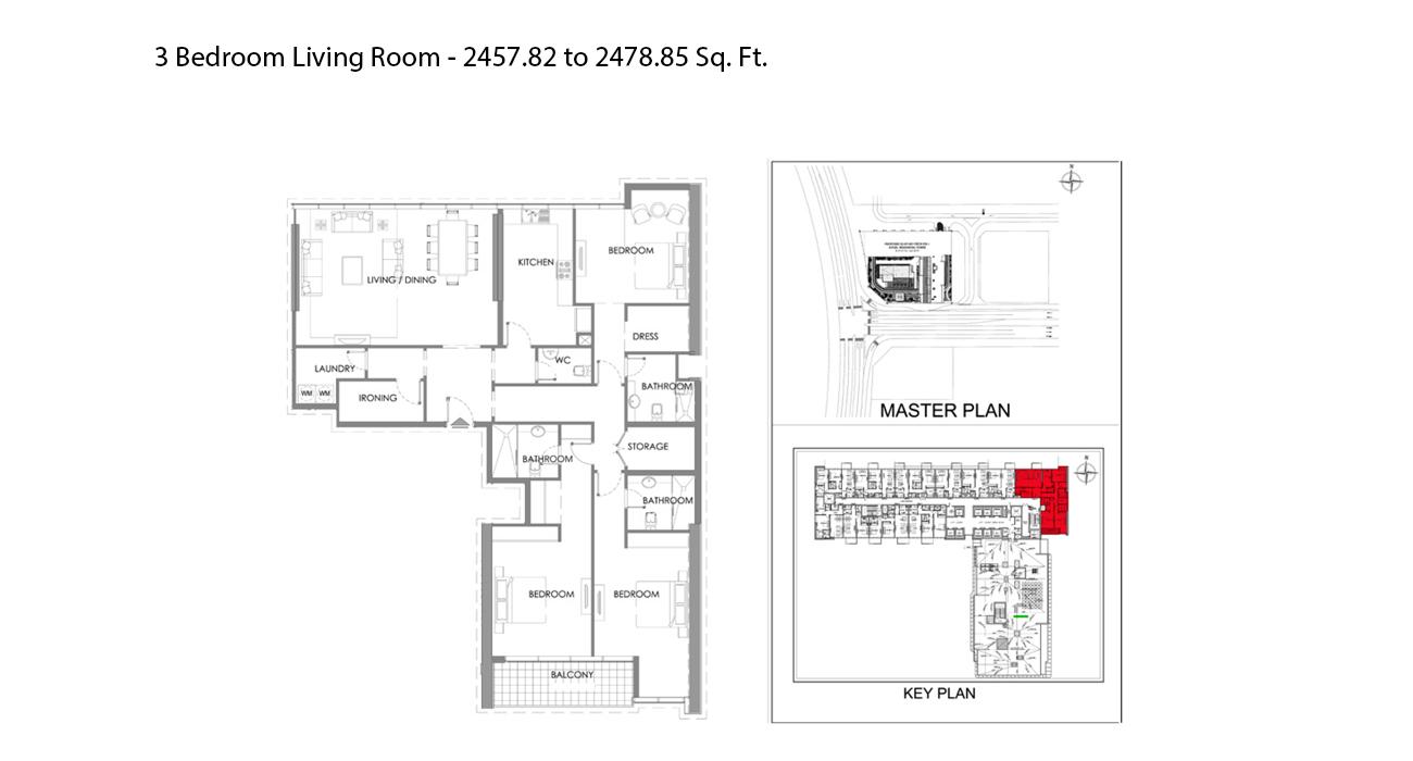 ثلاث غرف نوم - الحجم - 2457.82 - 2478.85 قدم مربع