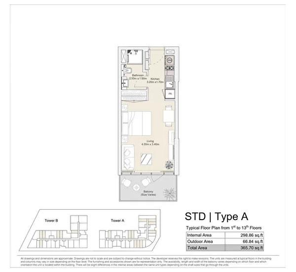 استوديو، نوع A ، مخطط طابق نموذجي من الطابق الأول إلى الطابق الثالث عشر 365.70 قدم مربع