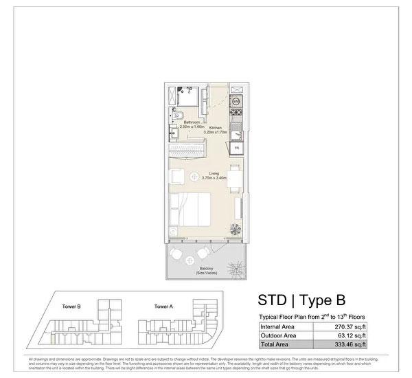استوديو، نوع B ، مخطط الطابق النموذجي من الطابق الثاني إلى الطابق الثالث عشر 333.46 قدم مربع