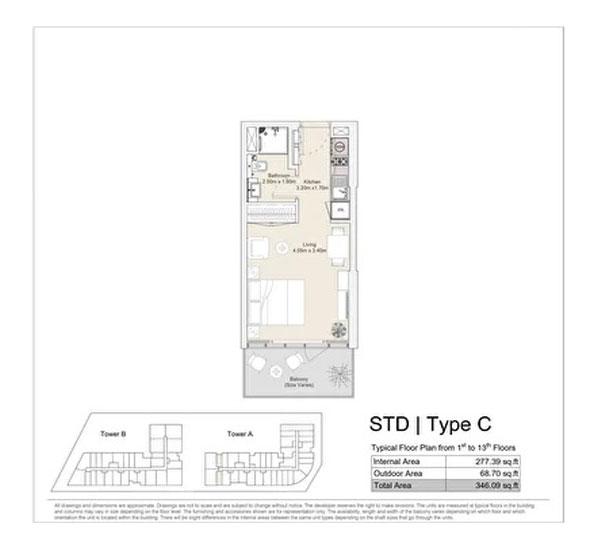 استوديو، نوع C ، مخطط طابق نموذجي من الطابق الأول إلى الطابق الثالث عشر 346.09 قدم مربع