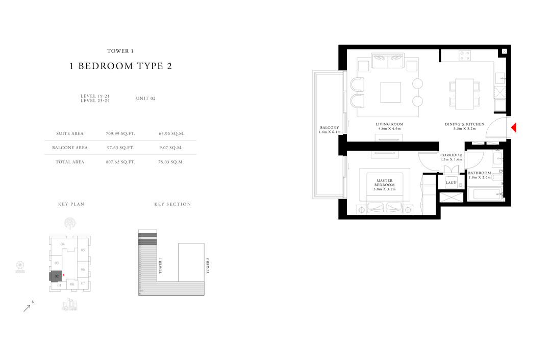 غرفة نوم واحدة،   نوع 2 برج 1 ، حجم 807.62 قدم مربع