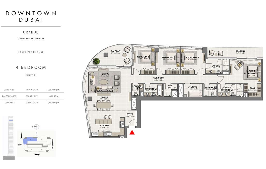 بنتهاوس من 4 غرف نوم ، الوحدة 2،  حجم 2587.64 قدم مربع