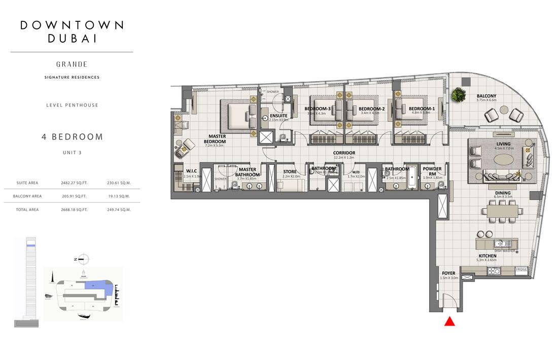 بنتهاوس من 4 غرف نوم ، الوحدة 3  حجم  2688.18 قدم مربع