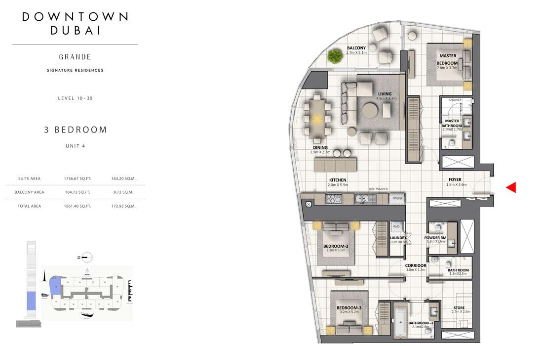 3 غرف نوم، المستوى 10-30 ، وحدة -9 ، حجم 1861.40 قدم مربع