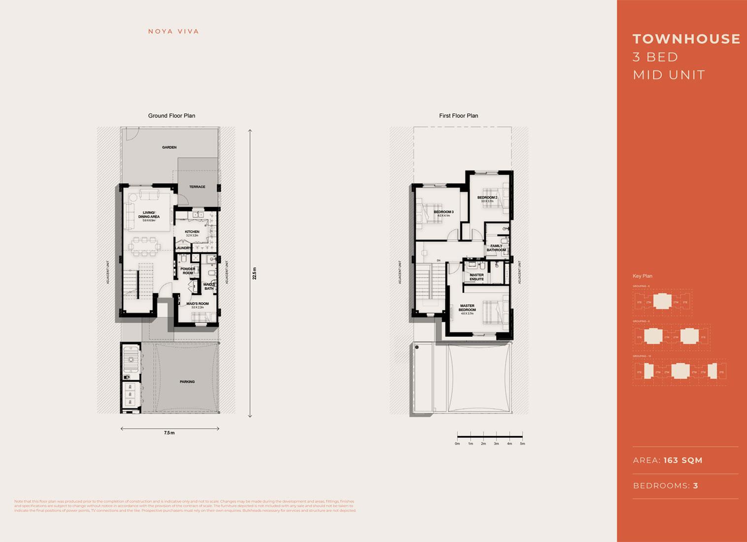 3 غرف نوم ، وحدة متوسطة