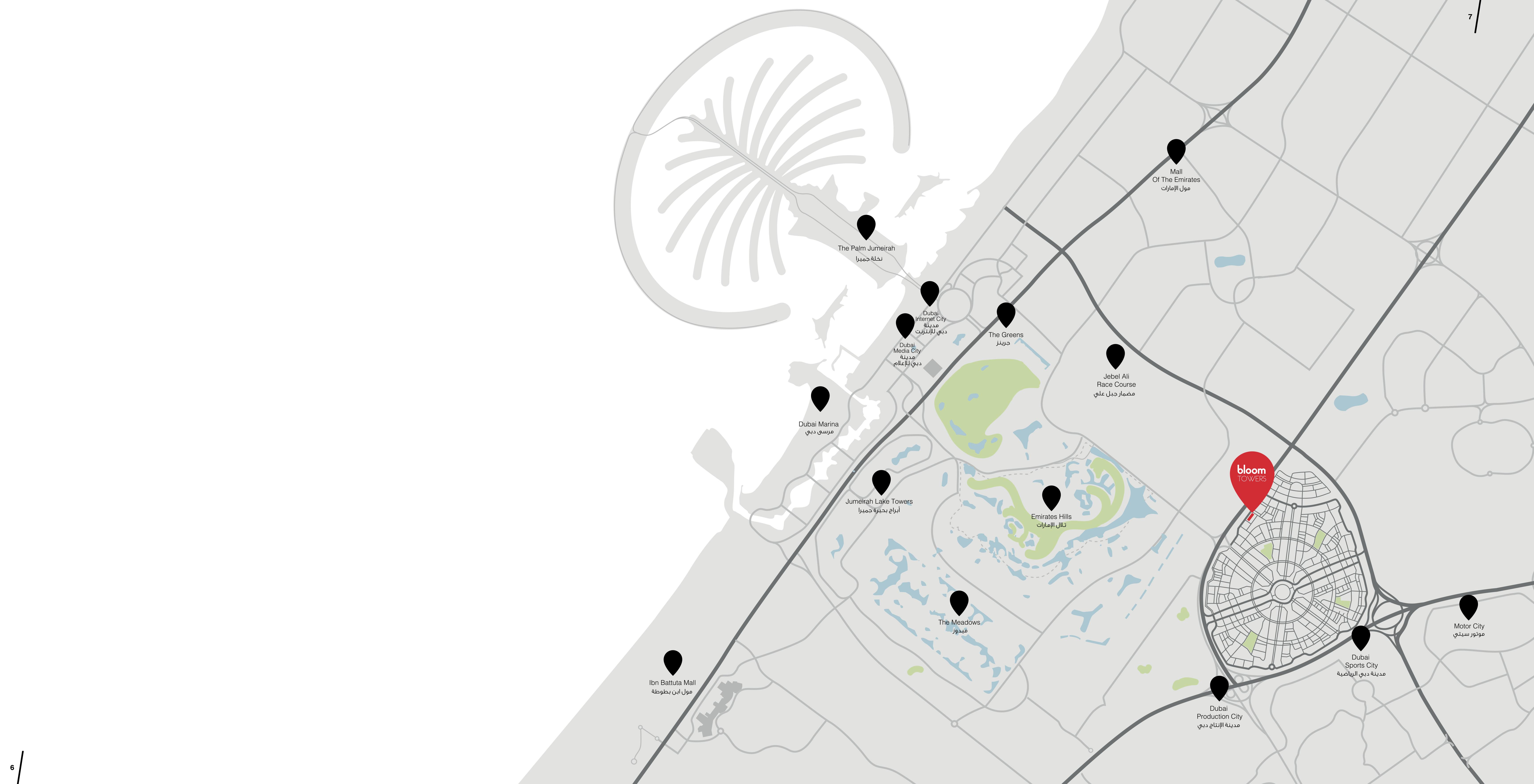 أبراج-بلوم-قرية-جميرا خريطة الموقع