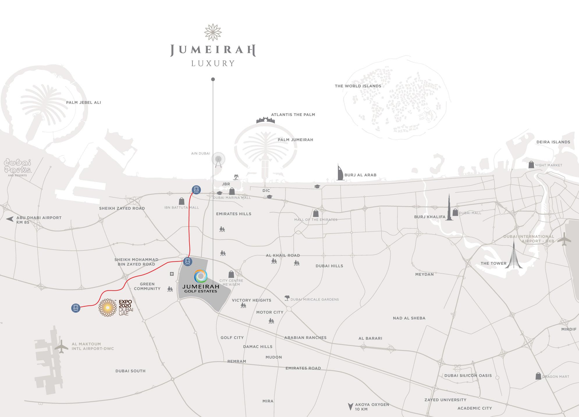 جميرا-الفاخرة خريطة الموقع