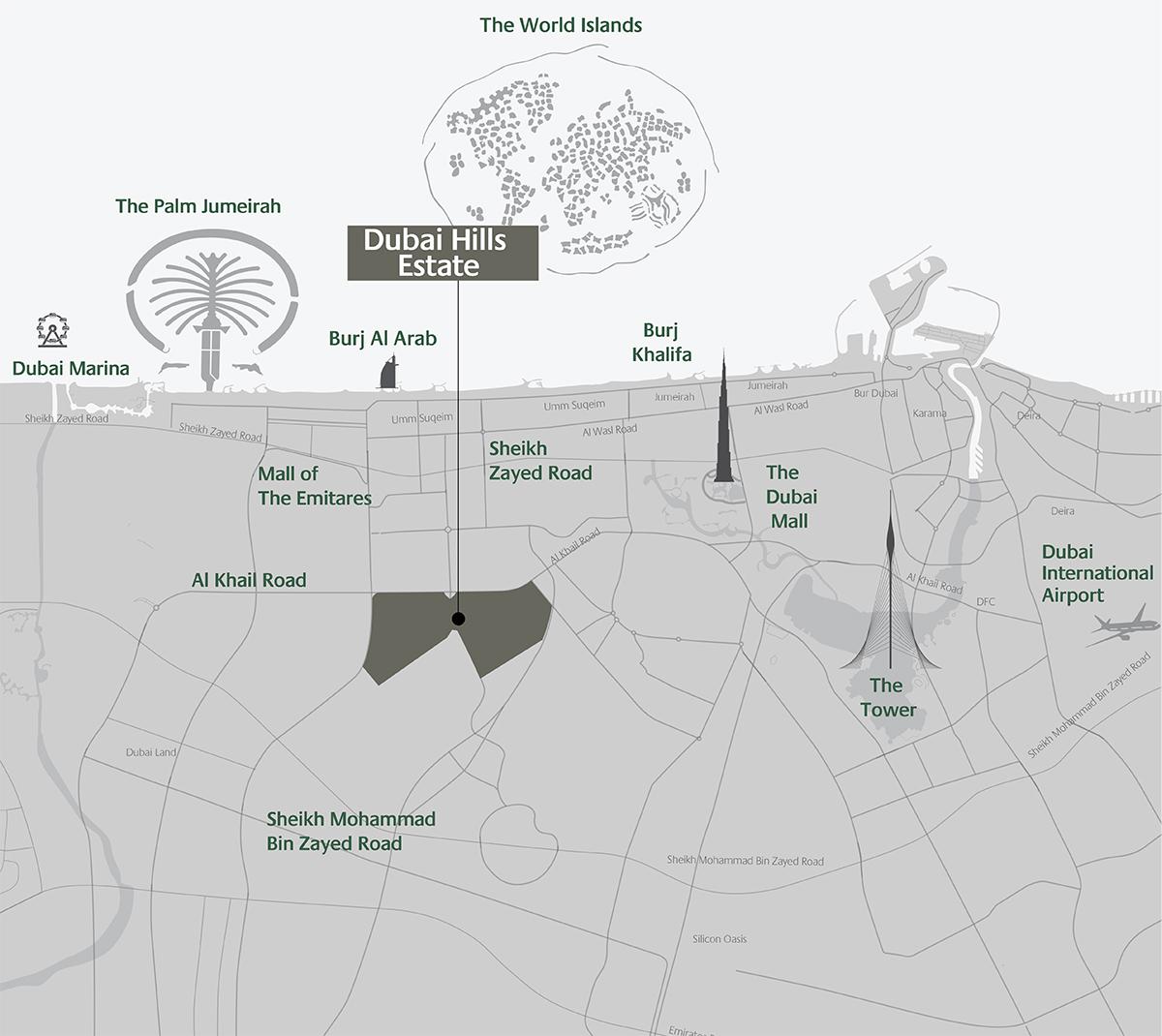 كلوب-فيلاز-دبي-هيلز خريطة الموقع