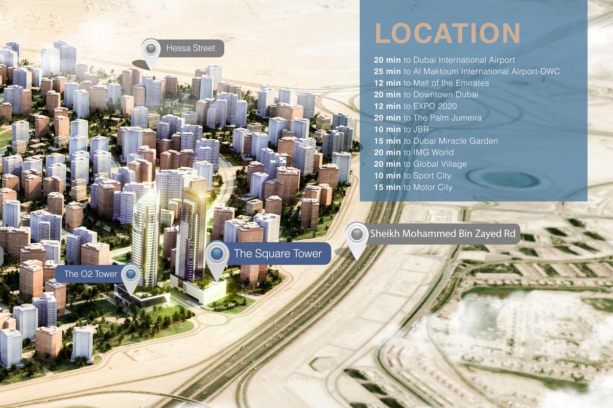 برج--ذا-سكوير خريطة الموقع