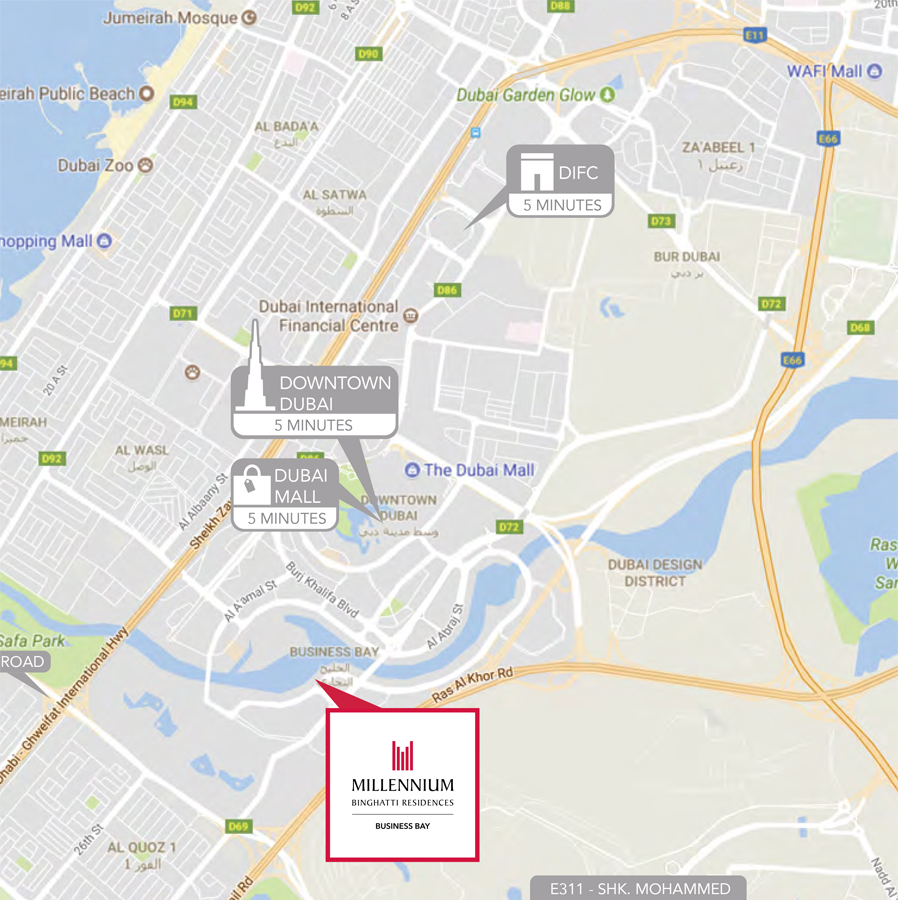 ميلينيوم-بن-غاطي-ريزيدنس خريطة الموقع