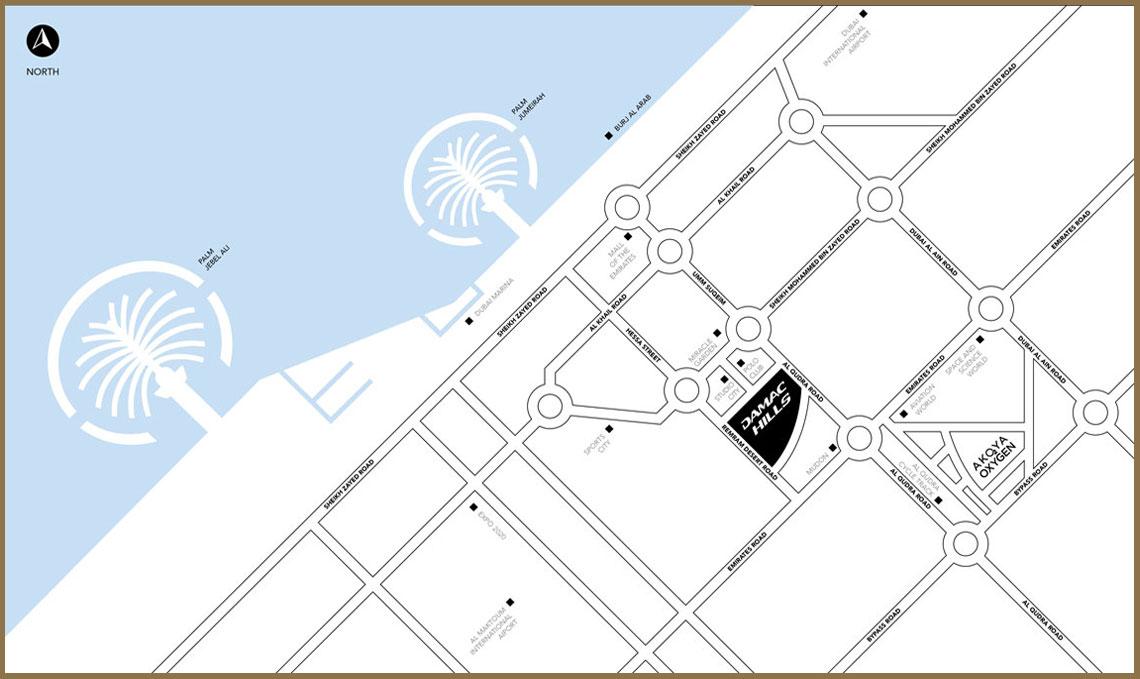 أكويا-داماك-هيلز خريطة الموقع