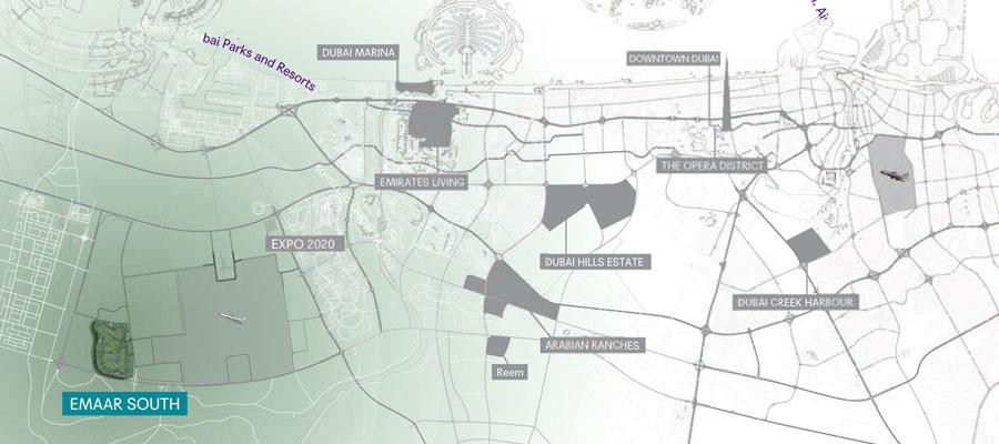 فلل-جولف-لينكس-بدبي-الجنوب خريطة الموقع
