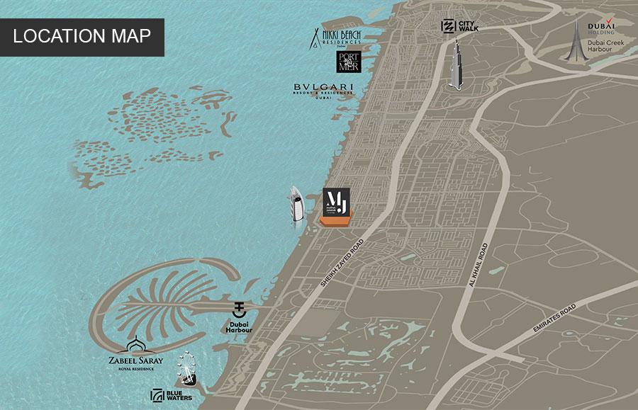 شقق-رحال-فى-مدينة-جميرا-ليفنج خريطة الموقع