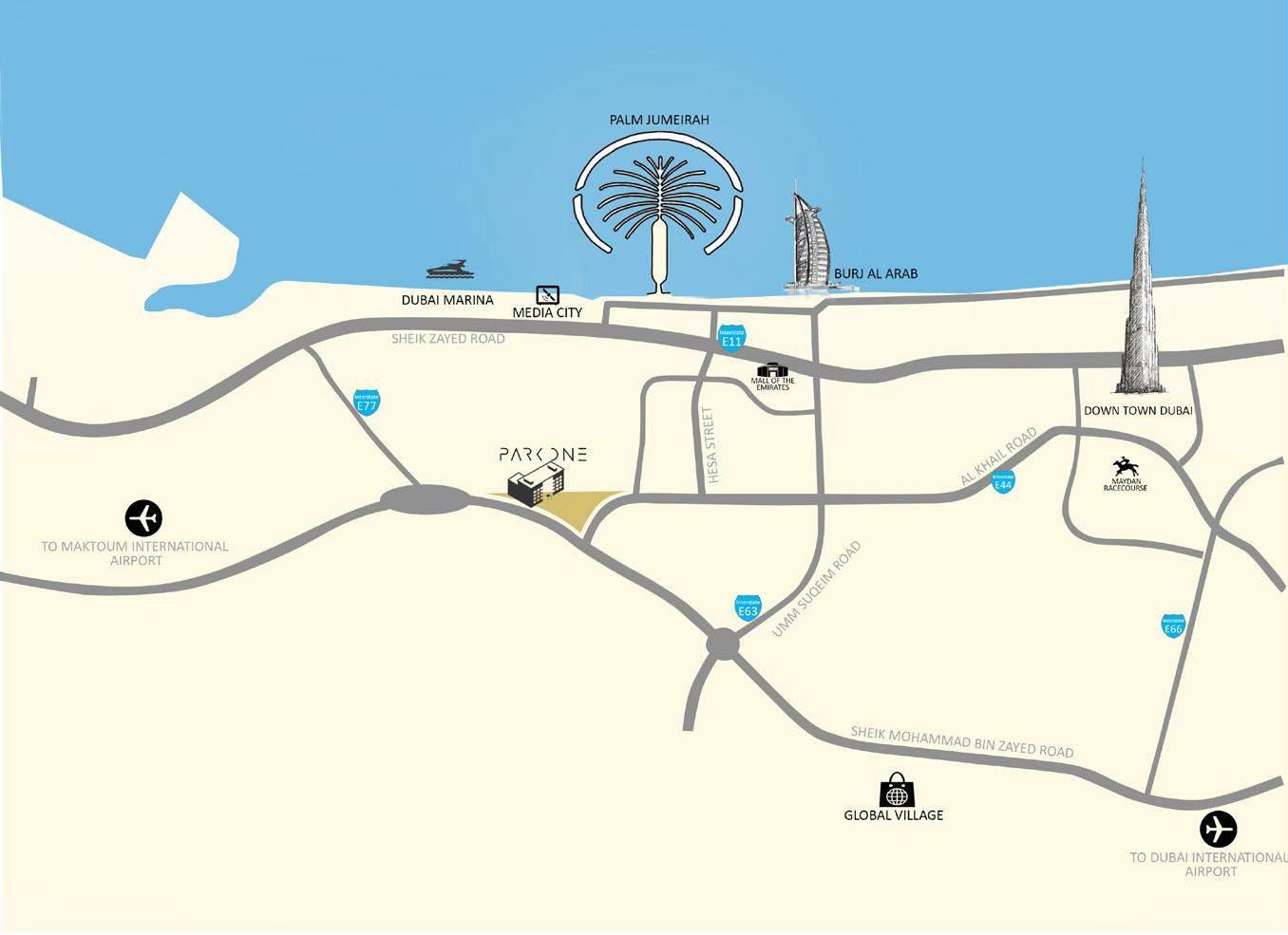 شقق-بارك-وان خريطة الموقع