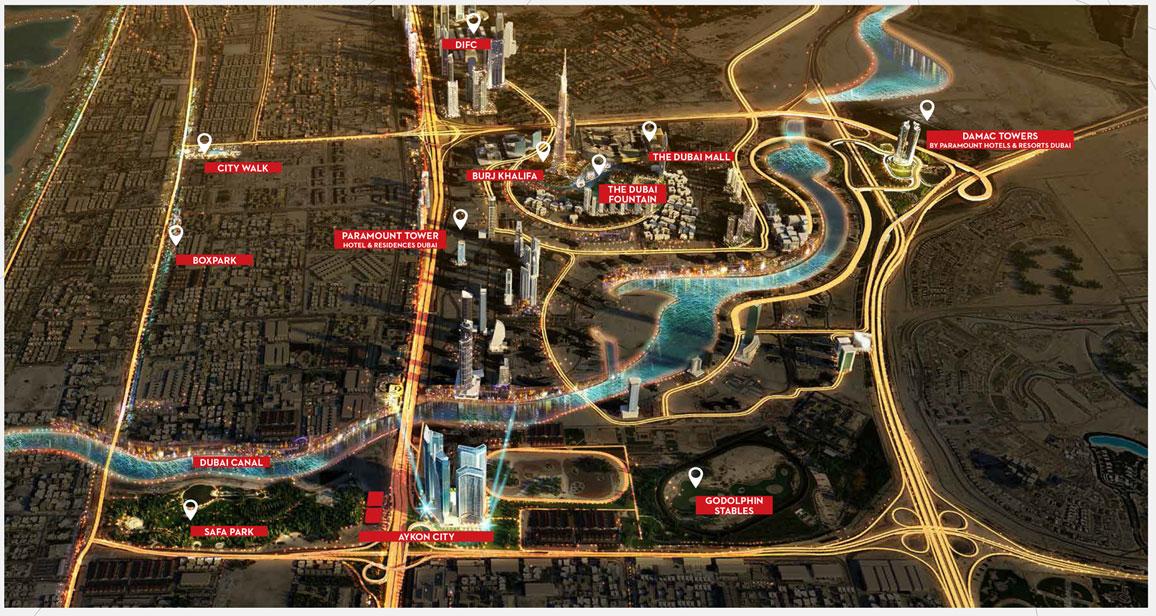 أيكون-سيتي-تاور-C-فندق-و-شقق-سكنية خريطة الموقع