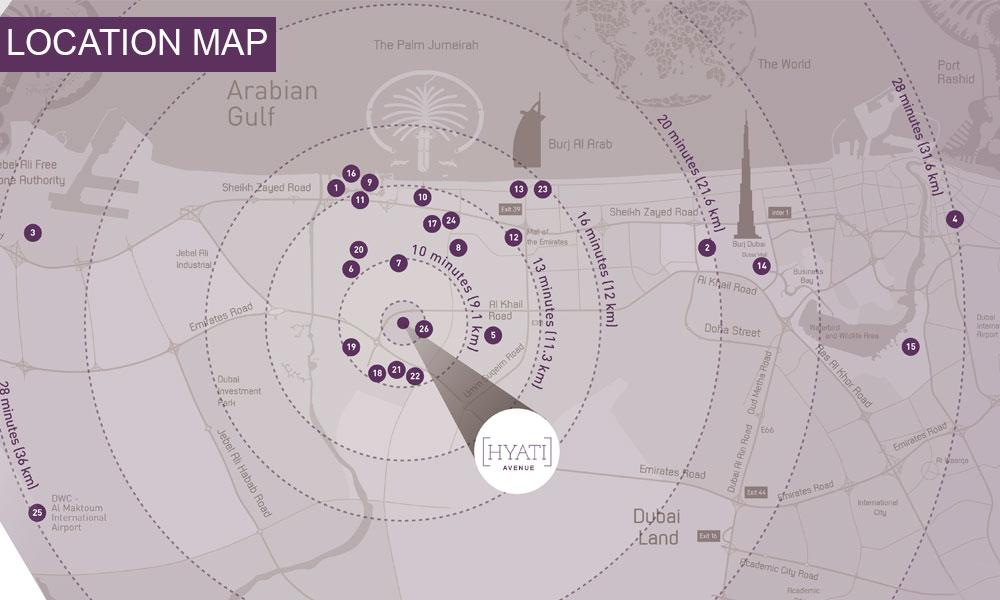حياتي-أفنيو خريطة الموقع