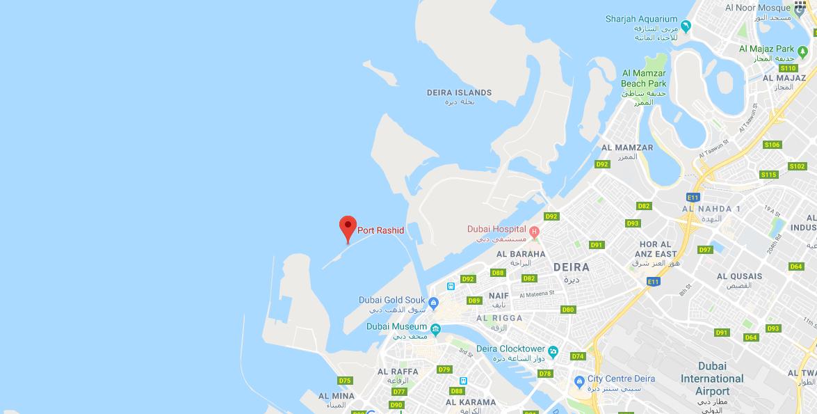 ميناء-راشد خريطة الموقع