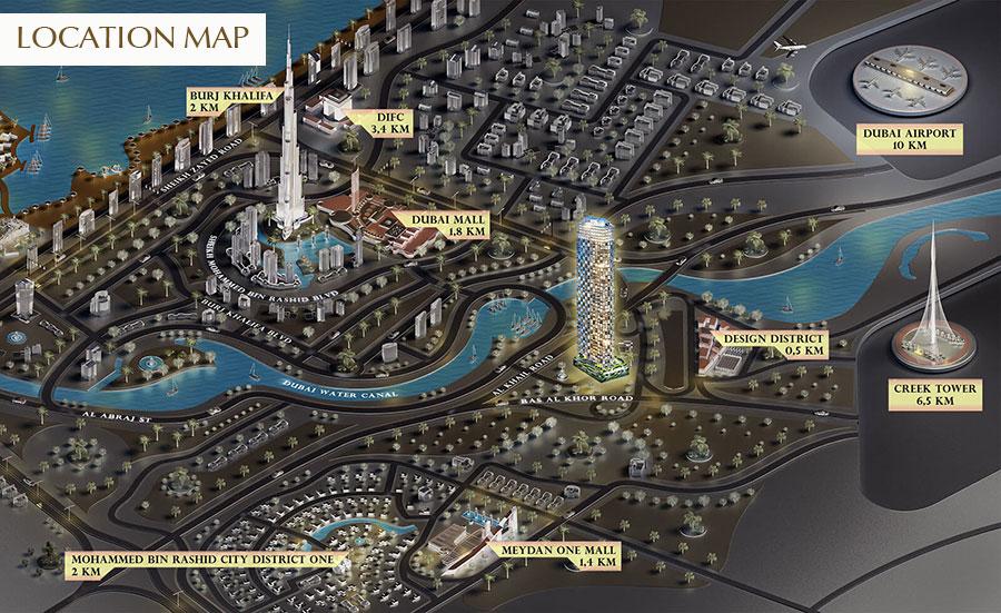 إس-إل-إس-ريزيدنسز-في-دبي خريطة الموقع
