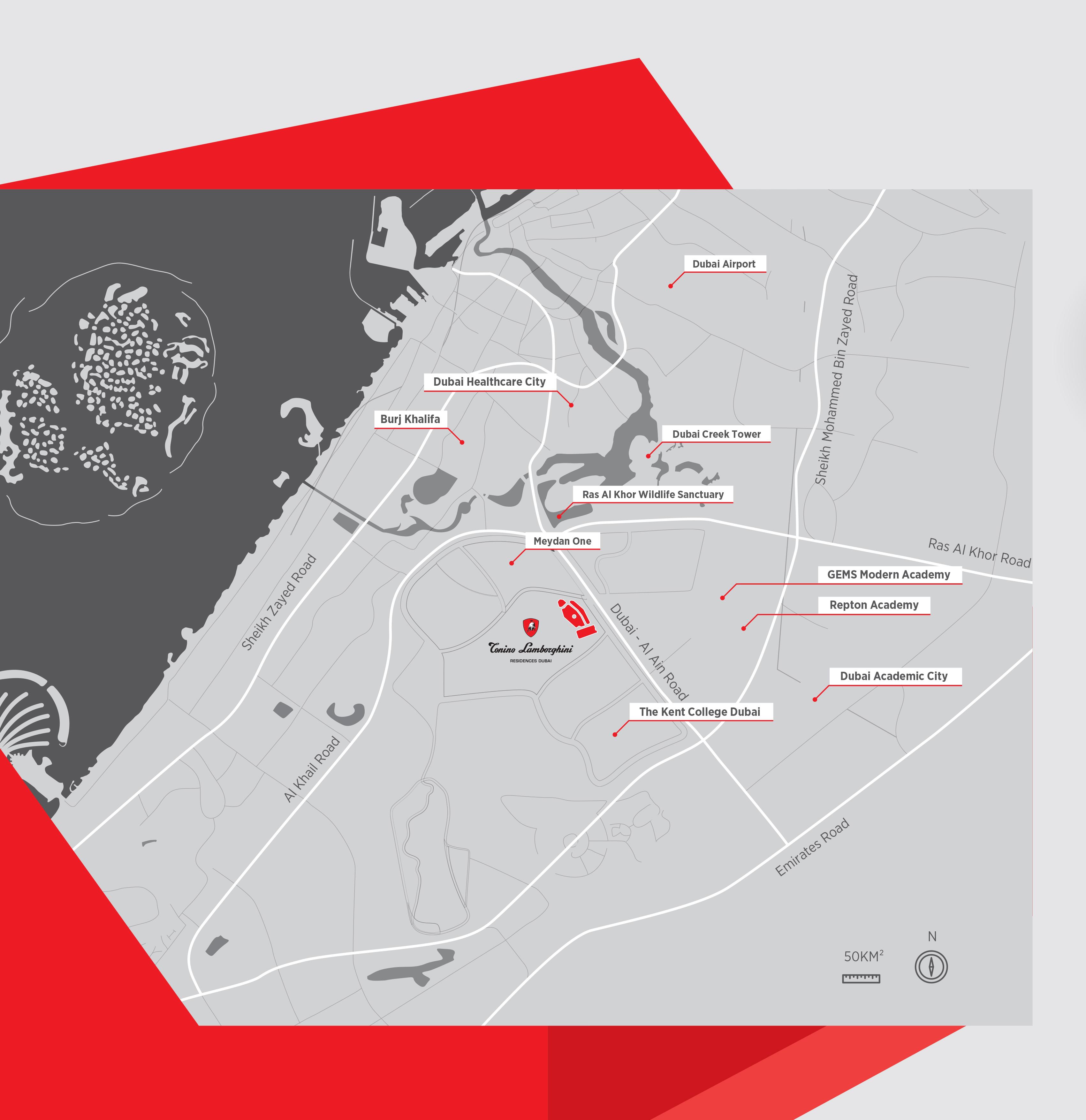 تونينو-لامبورجيني-ريزيدنسيز خريطة الموقع