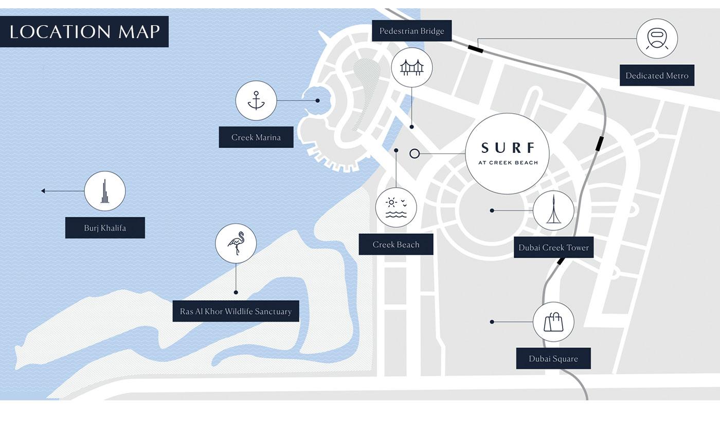سيرف-من-إعمار-العقارية--على-شاطئ-الخور خريطة الموقع