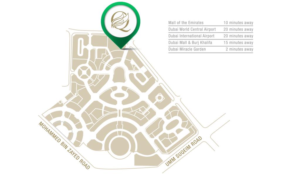 كيو-جاردنز خريطة الموقع