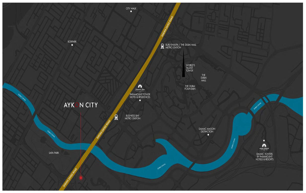 أيكون-سيتي-تاور-B-داماك-ميزون-فندق-و-شقق-سكنية خريطة الموقع