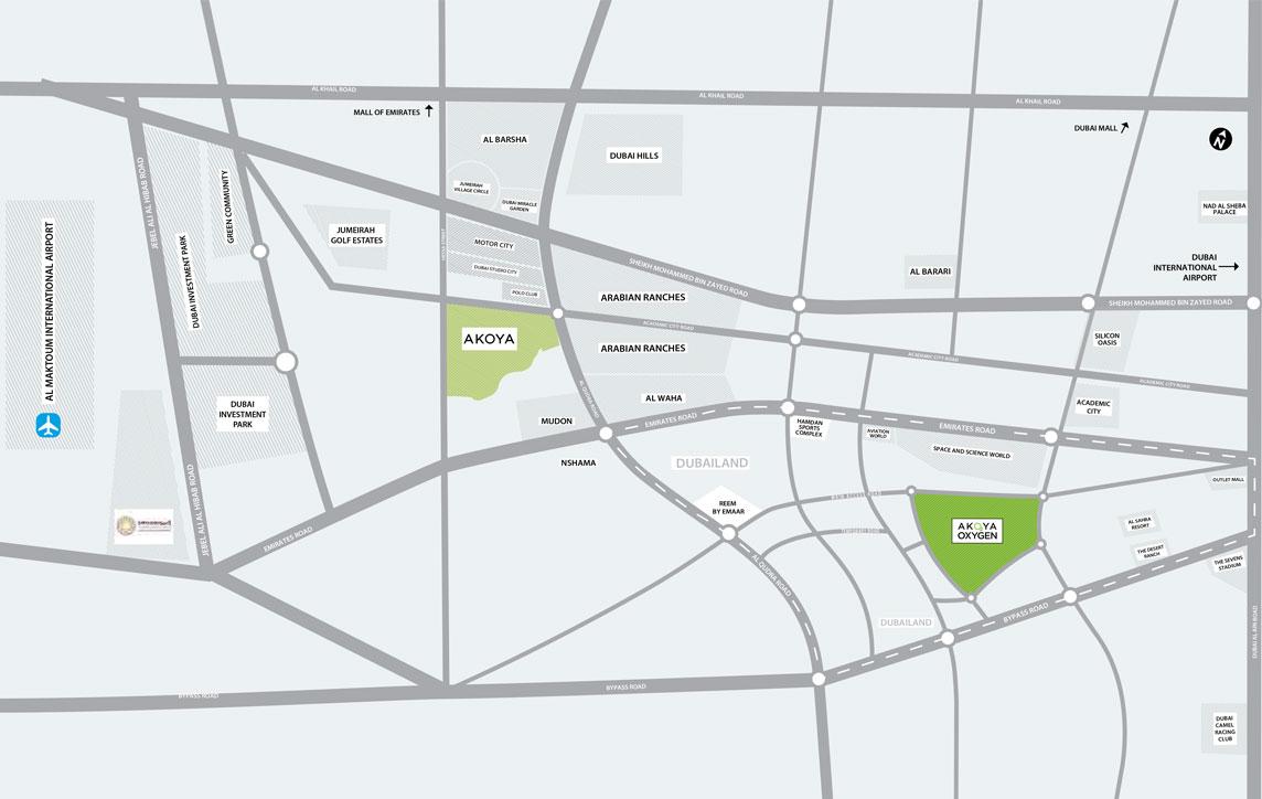 فلل-أكويا-كنسينغتون خريطة الموقع