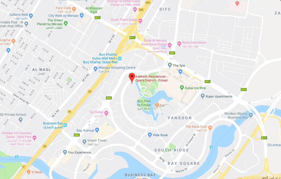 العنوان-رزيدنسز-دبي-أوبرا خريطة الموقع