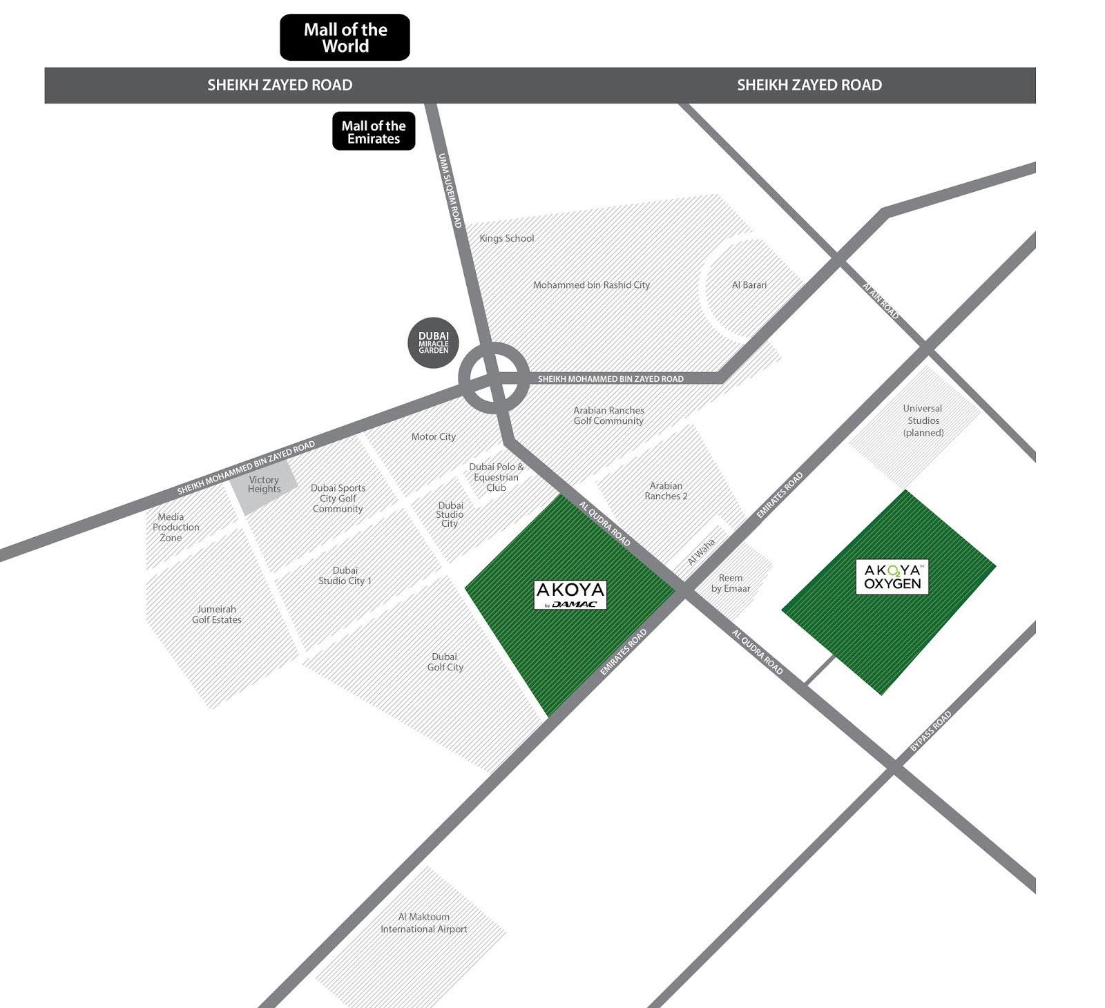 فلل-أكويا-داماك خريطة الموقع
