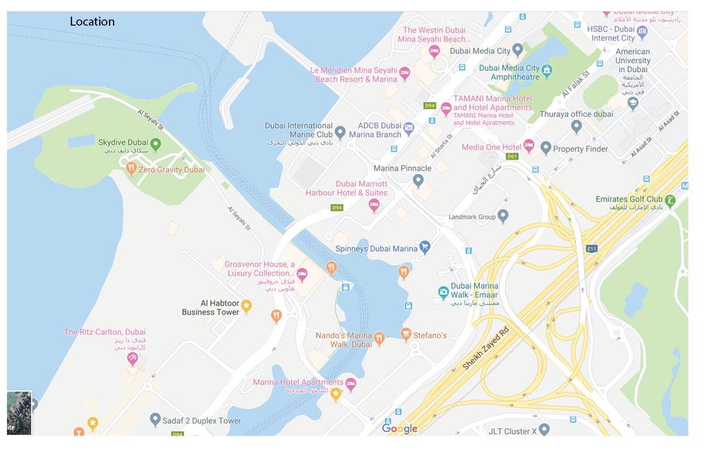 الحبتور-مارينا-تاور خريطة الموقع