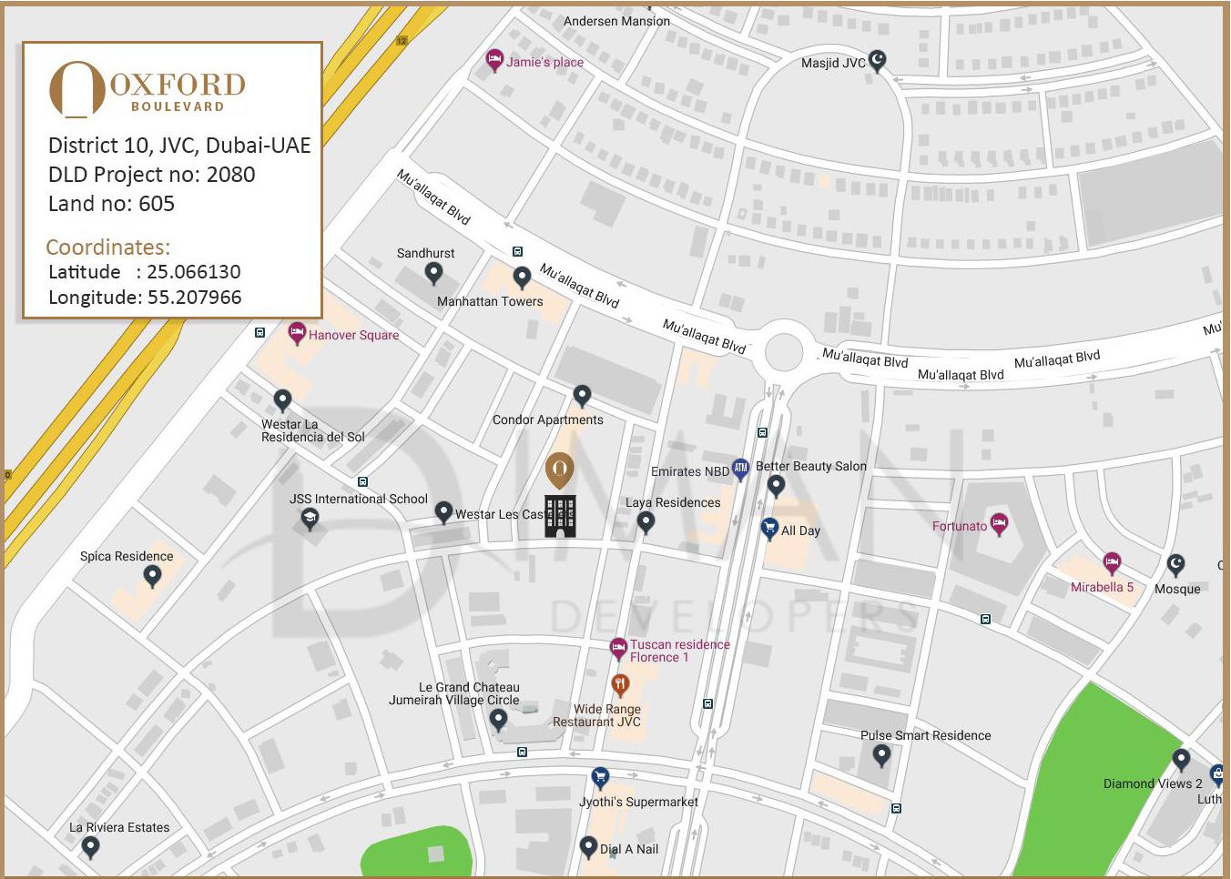 أوكسفورد-بوليفارد خريطة الموقع